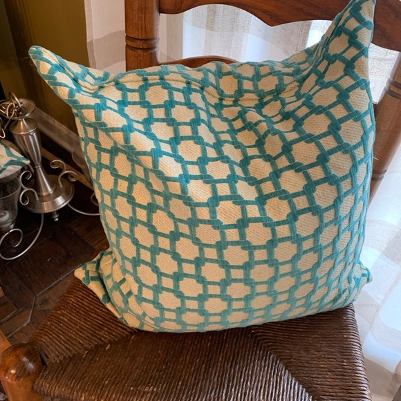 Other - Down throw pillow turquoise and silver